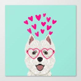 Westie west highland terrier white valentines day dog lover pet valentine Canvas Print