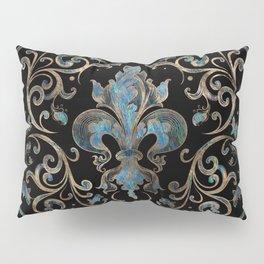 Fleur-de-lis ornament Abalone Shell and Gold Pillow Sham