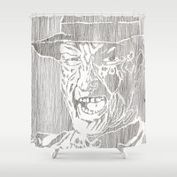 freddy krueger Shower Curtains featuring Freddy Krueger by Aaron Bir by Aaron Bir