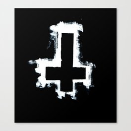 Black and White Inverted Cross Canvas Print
