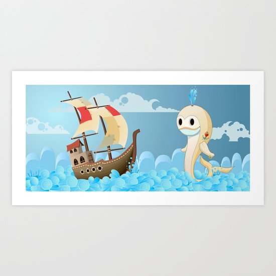 Moby the whale Art Print