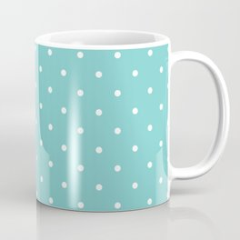 Small White Polka Dots with Aqua Background Coffee Mug