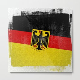 German Distressed Halftone Denim Flag Metal Print