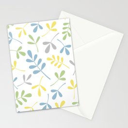 Assorted Leaf Silhouettes Blue Green Grey Yellow White Stationery Cards