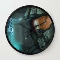master chief Wall Clocks featuring Master Chief and Cortana by IdentityPollution