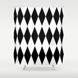 LARGE  WHITE AND BLACK   HARLEQUIN DIAMOND PATTERN Shower Curtain