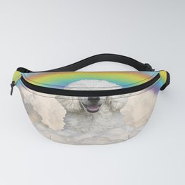Poodle Dog Rainbow Blue Sky Clouds Fanny Pack