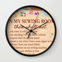 In My Sewing Room thou Shalt not . Vintage illustration poster art. Wall Clock