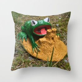 Frog's Sandcastle Throw Pillow