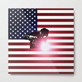 Welding: Welder & American Flag Metal Print
