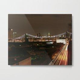 BQE to the Brooklyn Bridge at Night Metal Print