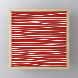 Red & White Maritime Hand Drawn Stripes - Mix & Match with Simplicity of Life Framed Mini Art Print