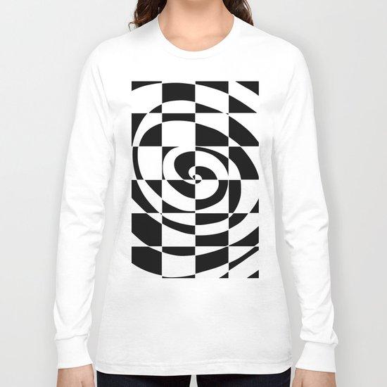Black And White Swirl Long Sleeve T-shirt