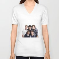 one direction V-neck T-shirts featuring One Direction by Sara Khaled