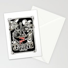 two skeletons gambling Stationery Cards