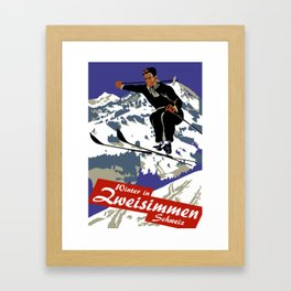 Winter in Zweisimmen Schweiz Framed Art Print