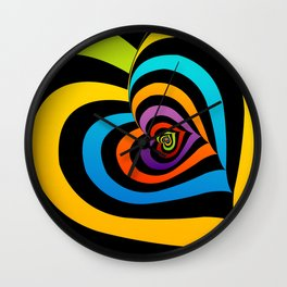 Valentine hearts twirling in rainbow colors Wall Clock