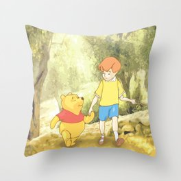 Christopher and Pooh Bear Throw Pillow