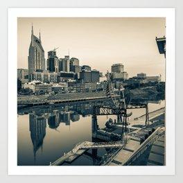 Nashville Skyline - Square Format - Sepia Art Print