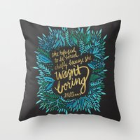 fitzgerald Throw Pillows featuring Zelda Fitzgerald – Blue on Black by Cat Coquillette