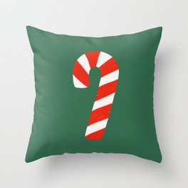 Candy Canes - Green Throw Pillow