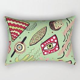 1980's Memphis Style, Light Green Rectangular Pillow