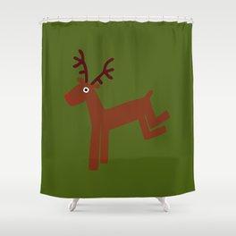 Reindeer-Green Shower Curtain