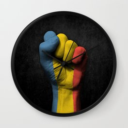 Romanian Flag on a Raised Clenched Fist Wall Clock