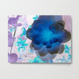 Blue Glow From Within Flower Metal Print