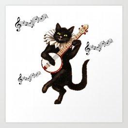 Cute Vintage Dancing Cat Art Print