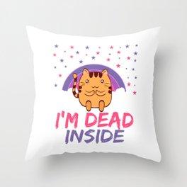 Cat I'm Dead Inside Depression Kills Raise Awareness T-shirt Design Help Heal Comfort Talk Chat Free Throw Pillow
