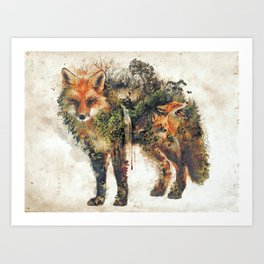 The Fox Nature Surrealism Art Print