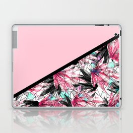 Blush Pink and Teal Abstract Tropical Leaves Laptop & iPad Skin