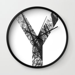 Minimal Letter Y Print With Photography Background Wall Clock