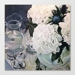 Glass Reflections with white hydrangeas Canvas Print