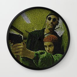 Text Portrait of Leon and Mathilda with Full Script of the movie LEON Wall Clock