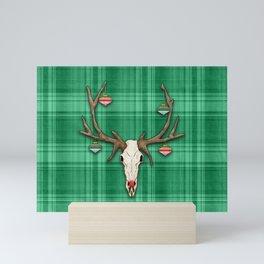 Reindeer Skull on Green Plaid Christmas Design Mini Art Print