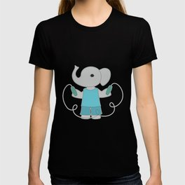 Little elephant with jump rope illustration. T-shirt