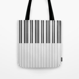 The Piano Black and White Keyboard Tote Bag