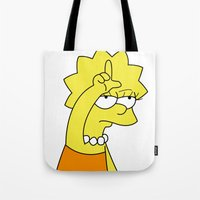 simpson Tote Bags featuring Lisa Simpson Loser by hunnydoll