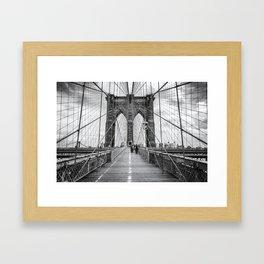 Brooklyn Bridge, New York City (rustic black & white) Framed Art Print