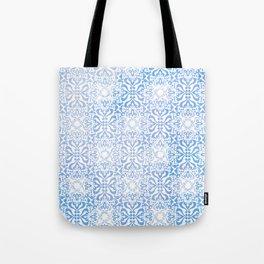 Blue Winter Damask Décor Pattern Graphic Design Tote Bag