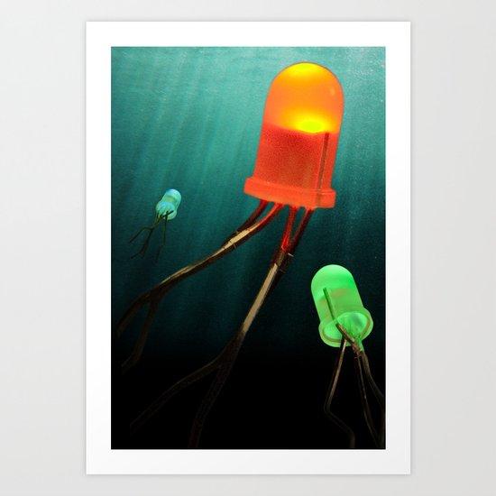 LED Jellyfish Art Print