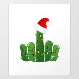 Fucktus | Christmas Cactus Flippin The Bird Art Print