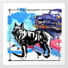 German Shepherd pop art Art Print
