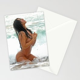 9425-SS Wet Woman Nude Beach Sand Surf Big Breasts Long Black Hair Sexy Erotic Art Stationery Cards