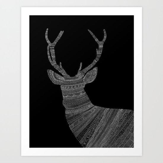 Stag / Deer (On Black) Art Print