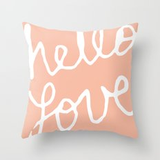 Hello Love Peach Throw Pillow