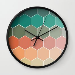 Colorful Hexagons Wall Clock