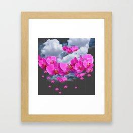 PINK ORCHID FLOWERS CLOUDS & RAIN Framed Art Print